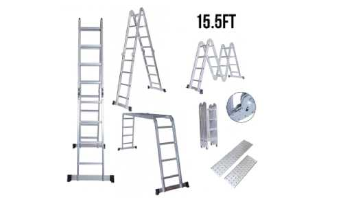 Yocitoy 12.5ft/15.5ft Multi Purpose Aluminum Folding Extension Step Ladder