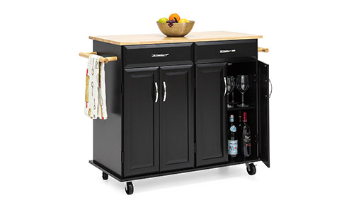 Best Choice Product Portable Kitchen cart Wood cabinet.