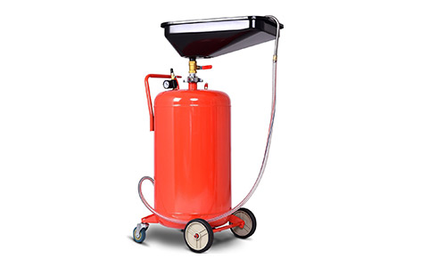 Goplus 18 Gallon Portable Waste Oil Drain Tank Air Operated Adjustable Oil Pan Height with Regulator and Gauge