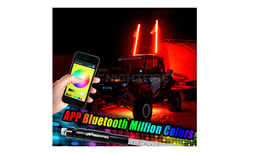 Night Fire RGB LED Whip Lights 5FT APP Bluetooth LED Antenna Whips (One Whip)