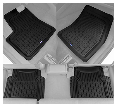 Stable pro rubber car floor mats - heavy duty plus liners for auto SUV truck car van - 4-piece set - thick, odorless & all weather (black)