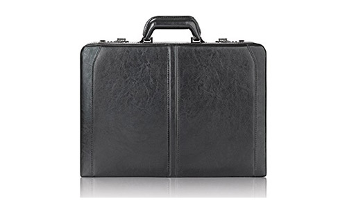 Solo Broadway Premium Leather 16 Inch Laptop Attaché, Hard-sided with Combination Locks