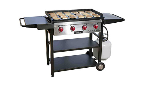 Camp chef, FT600 best cooking flat grill with grilling surface and side shelves.