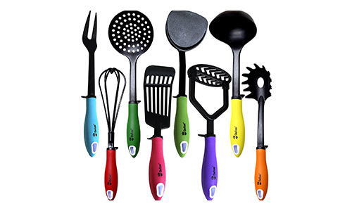 Chefcoo presents - Whisk, Turner Skimmer, Soup Ladle,Masher, Spaghetti Server, Fish Slotted Turner, Fork