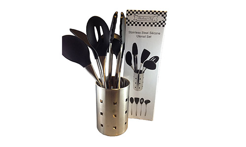 Checkered Chef presents Stainless Steel and Silicone Kitchen Cooking Utensil Set with Metal Holder, Six Piece Set