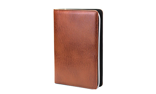 PU Leather Zippered Binder by Chris-Wang, (A6 size) BROWN