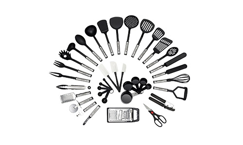 NEXGADGET presents 38-Piece Premium Cooking Utensils Stainless Steel and Nylon Kitchen Utensils Set