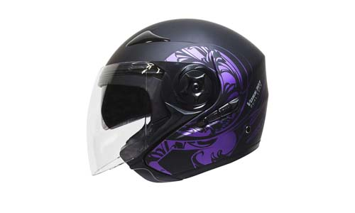 Voss 303 Purple Eclipse Dual Lens DOT Three Quarter Helmet with Integrated Sun Lens and Quick Release System