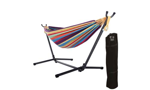 OnCloud Double Hammock with 9 FT Stand Space Saving Carrying Case