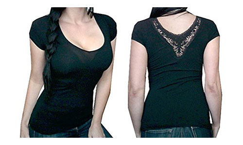 Sexy Women's Low-Cut Short Sleeve Crochet Fashion Tee Shirt Top