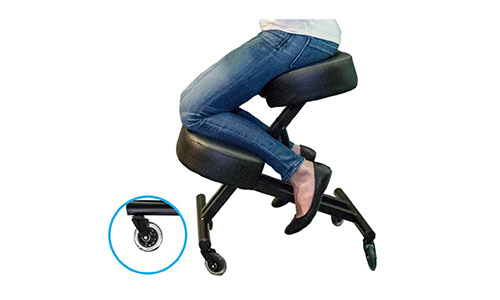 Sleekform Ergonomic Kneeling Chair for Upright Posture - Adjustable Knee Stool for Home, Office & Meditation - Memory Foam Cushion - Rollerblade Casters - Orthopedic Seating for Healthy Back