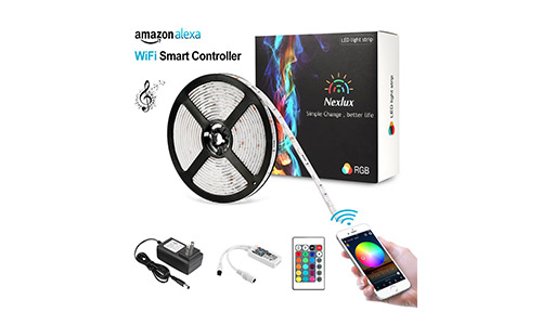 Nexlux LED Strip, Alexa Echo Controlled 16.4ft Wireless LED Light Strip Color Changing Kit 150leds Flexible Strip 5050 Waterproof IP65, Working with Android and IOS System Smartphone