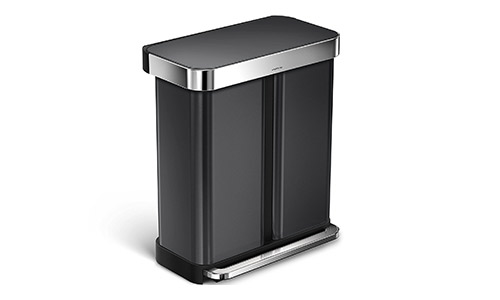 simplehuman (Liner Rim) Trash Can (Black Stainless Steel)