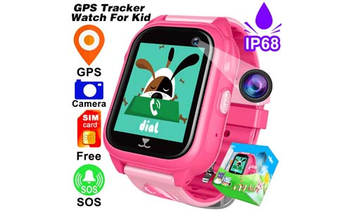 FREE SIM Included-Kids Smart Watch Phone IP68 Waterproof GPS Tracker For Girls Boys Back To School Gift Game Sport Fitness Watch Pedometer SOS Camera For IOS/Android Swim Summer Travel Camp Birthday