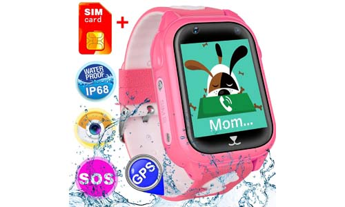 [SIM Card Included] Kids Smart Watch Phone for Girls Boys with GPS Locator Pedometer Fitness Tracker Touch Camera Games Flashlight Anti Lost Alarm Clock Smart Watch