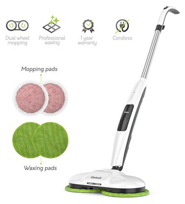 Gladwell Cordless Electric Mop - 3 in 1 Spinner, Scrubber and Waxer Quiet and Powerful Cleaner, Spin Scrubber & Buffer