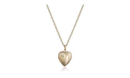 Amazon Collection Diamond-Accent Heart Locket