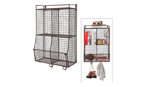 Wall mounted metal wire mesh storage basket shelf organiser