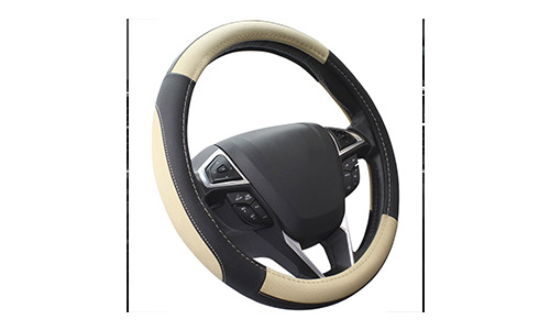 SEG Direct Black and Beige Microfiber Leather 15 inch Steering Wheel Cover