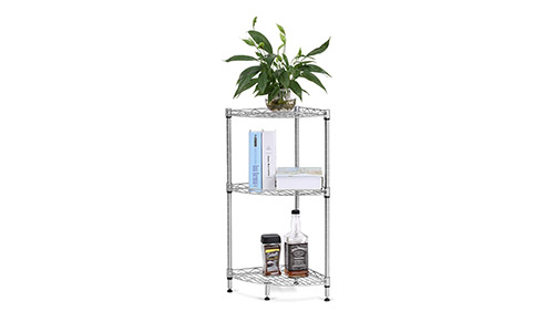 3-Tier Silver Corner Storage Bookcase for Kitchen by LANGRIA