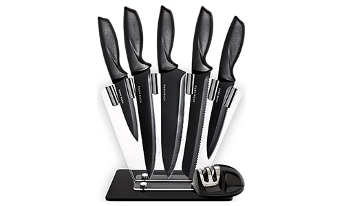 Kitchen Knives Knife Set with Stand –Plus Professional Knife Sharpener -7 Piece Stainless Steel Cutlery Knives Set by Home Hero