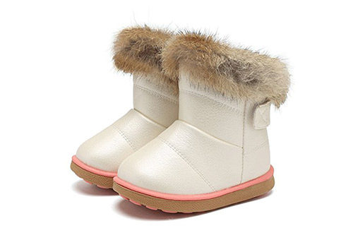 CIOR Girl's Winter Snow Boots Fur Outdoor Slip-on Boots