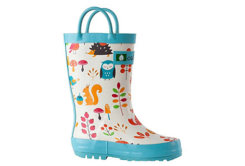 Oakiwear Kids Waterproof Rubber Rain Boots with Easy-On Handles
