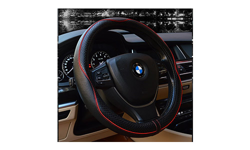 Valleycomfy Steering Wheel Covers Universal 15 inch Black with Red Lines