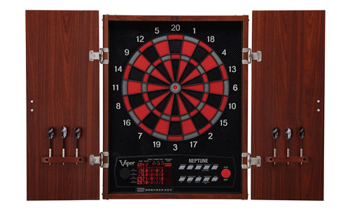 Viper Neptune electronic soft tip dartboard with a cabinet