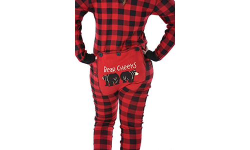 Red Plaid Bear Cheeks Adult Flapjacks by LAZY ONE