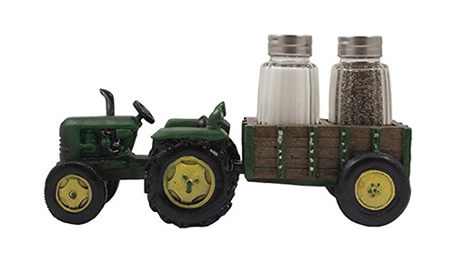 The Vintage Farm Tractor and Wagon Glass Salt and Pepper Shaker Set Holder