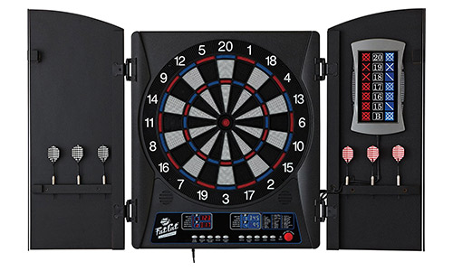 Fat cat mercury electronic soft tip dartboard with a cabinet
