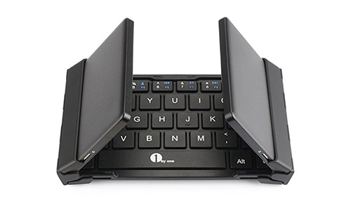 1byone Foldable Bluetooth Keyboard, Portable Bluetooth Keyboard for Tablets and Smartphone, Black