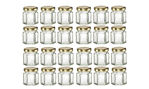 Nakpunar 24 pcs, 1.5 oz Mini Hexagon Glass Jars with Gold Plastisol Lined Lids