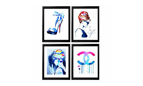 Fashion Set of 4 Art Prints for the Fashionista Icons Illustrations of Original Watercolor Paintings Salon Decor Pink Blue Audrey Highheels