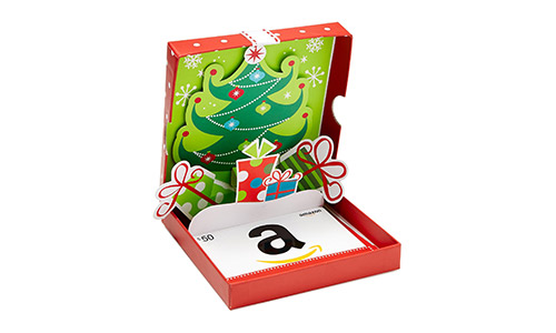 Amazon.com's Gift Card folded in a Holiday pop-up box