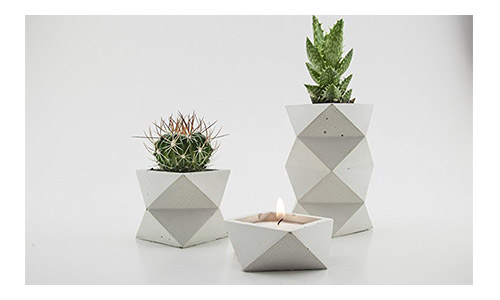 The White Geometric Suite Two Concrete Planters and One Candle Holder
