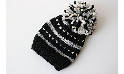 BeaCapesDesign Knitted Fair Isle Knit Beanie Hat with Pom Pom