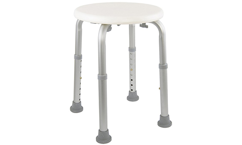 Medical tool-free assembly adjustable shower stool tub chair