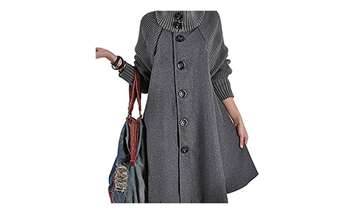 Gihuo Women's Mid Long Single Breasted Cowl Neck Loose Woolen Cloak Coat