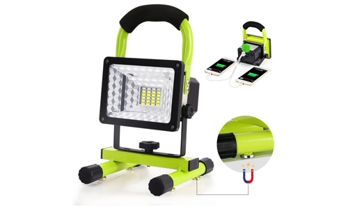 Beswill LED Work Light with Magnetic Stand BESWILL Portable Rechargeable Battery Flood Light 15W 24LED SOS Mode Outdoors Camping Emergency Light with 2 USB Ports to Charge Digital Devices (Green)