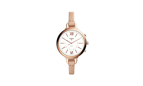 The Q Women's Annete Sand Leather Hybrid Smartwatch