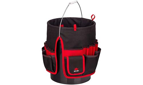 NoCry Heavy Duty Bucket Organizer - with 35 Pockets, 5 Tool Loops, and Tape Hook/Strap. Fits a Standard Five and Three Gallon Bucket