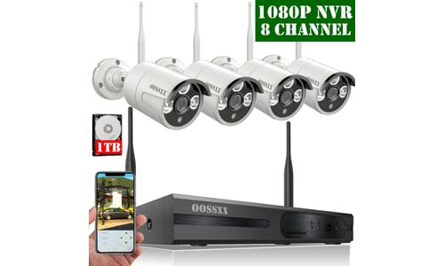 HD 1080P 8-Channel OOSSXX Wireless Security Camera System