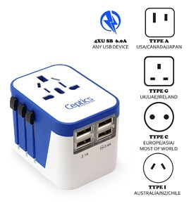 Ceptics All-In-One International Travel Plug Adapter