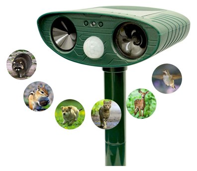 OuBay Solar Powered Ultrasonic Motion Sensor Animal Repellent Water Sprinkler[2019 Upgraded Version]