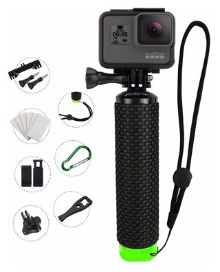 MiPremium Waterproof Floating Hand Grip Compatible with GoPro Cameras Hero 4 Session Black Silver Hero 2 3 3+ Handler Plus Free Handle Mount Accessories for Water Sport and Action Cameras (Green)