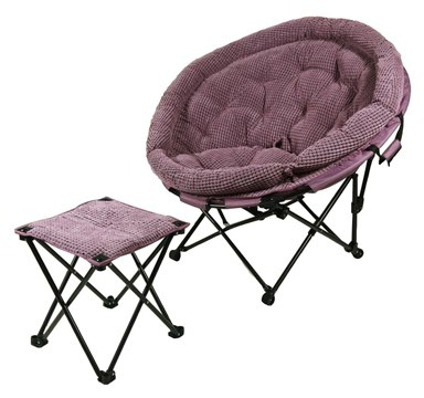 YLYAB Moon Chair Leisure Camping Chair Without Cup Holder Steel Frame Folding Padded Portable (Color: Dream Purple)