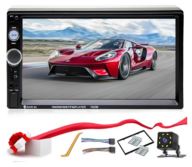 Double Din Car Stereo in-Dash Compatible with Bluetooth Touch Screen 7 inch with Rear-View Camera, Video MP5/4/3 Player, Radio FM, Car Stereo Receiver, Mirror Link, Caller ID