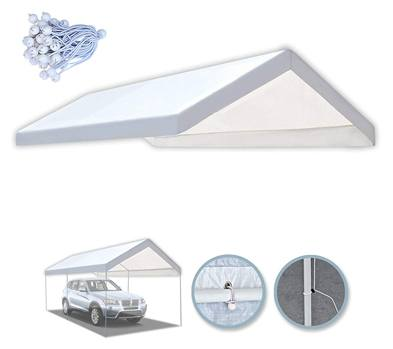 Benefits 10x20 Carport Replacement Canopy Tent Garage Top Tarp Shelter Cover W Ball Bungees (with Edge)
